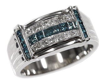 1.5 cttw 18k White Gold Princess Mens Blue Diamond Wedding Band