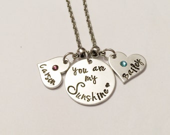 You are my Sunshine - Mother's necklace- Hand stamped jewelry - You are my Sunshine jewelry - Necklace with children's names - Sun jewelry