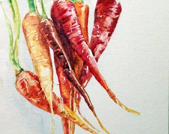 Original Watercolor Carrots
