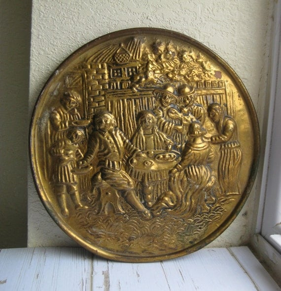 Brass Wall Plates Decor : Brass wall decor embossed plate vintage