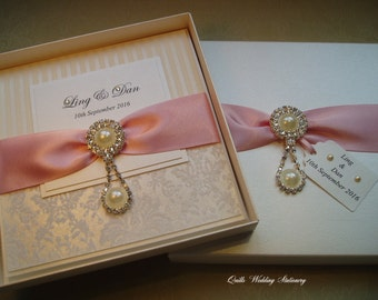 Buckingham. Boxed Wedding Invitation. Pearl and Diamante Wedding Invitation.