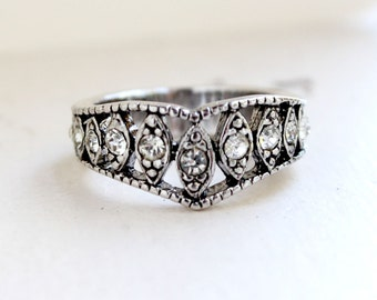 Vintage Edwardian Ring Antique Silver Tone with Clear Austrian Crystals  Made in USA #R1288