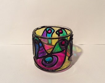 Vintage 1960s Counterpoint San Francisco Stained Glass Tea Light Candle Holder/Hippie Boho and Psychedelic