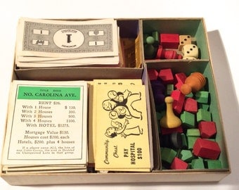 Vintage 1936 Monopoly Game NO Board but all other pieces