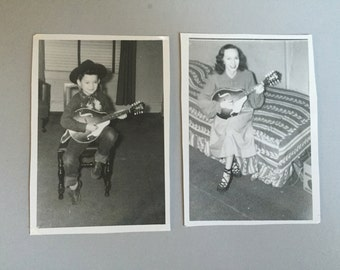 Picture of woman and boy with musical instrument, vintage photograph of woman with mandolin, picture of mother and son, black & white photo