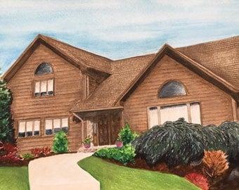 Custom watercolor home portrait