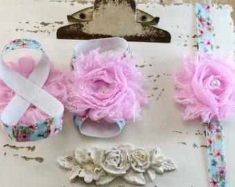 Pink Flower Baby Barefoot Sandals, Baby Sandal and Headband, Baby Toe Bloom, Birthday Sandal, Baby Girl Shoe, Girl Accessories, Newborn shoe