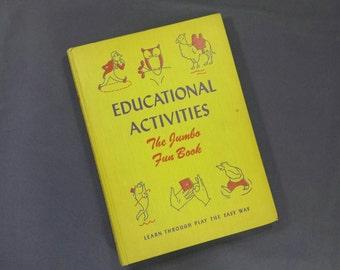 1952 Educational Activities The Jumbo Fun Book Retro Vintage Childrens School Textbook Kids 50s Learning Homeschool Unused Activity Workbook