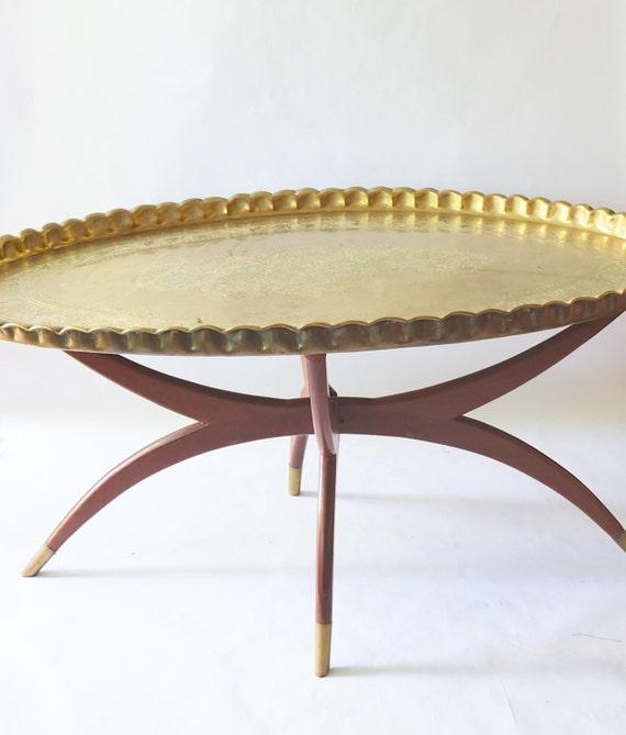 Moroccan 1970s Vintage Brass Boho Coffee Table Oval Folding