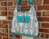 Concealed Carry purse, Indoor/Outdoor Fabric in Gray Arrow and Teal, Made in MO, USA