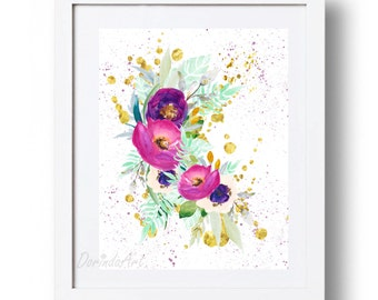 Printable Purple and gold flower wall art print Watercolor flowers print Floral wall decor Purple home decor 5x7 8x10 11x14 16x20 DOWNLOAD