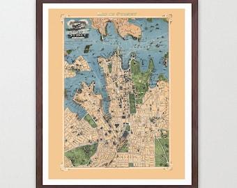 Sydney Map - Australia Map Art - Map Decor - Sydney Australia - Australian Art - Australia Map Art - Australia Wall Art - Old Sydney