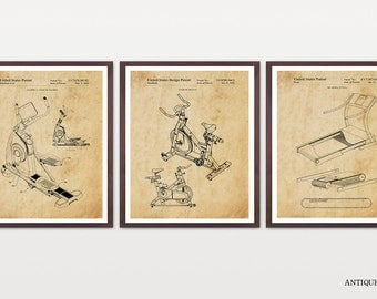 Exercise Patent Art - GYM Patent Collection - Cardio - Spin Bike - Spin Class - Treadmill - Elliptical - Soul Cycle - Gym Poster - Workout
