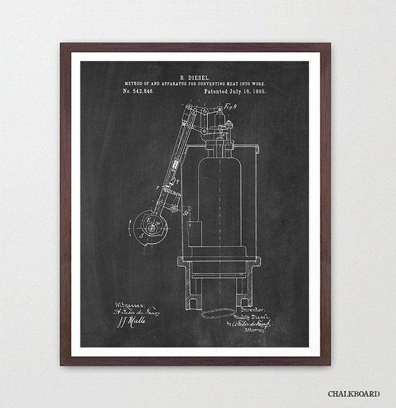 Diesel Engine Patent Poster Rudolf Diesel Diesel Mechanic – Rudolf Diesel Engine Diagram