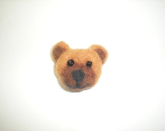 Needle felted bear pin, caramel brown teddy bear, teddy bear brooch, caramel brown brooch pin