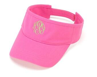 Hot Pink Visor Hat with Monogram
