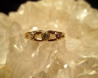 3 Stone Diamond Ring ~14K.Yellow Gold~ Handmade Bezel Set Diamonds