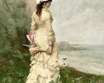 An Elegant Lady by the Sea - Counted cross stitch pattern in PDF format