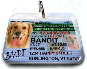 Vermont driver license Personalized Custom ID Tags for dogs and cats Double Sided pet tags