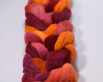 Fall Colors Corriedale Wool Roving, Handpainted Braid, Wisconsin Wool, Burgandy, Orange,  Wool Roving Braid.