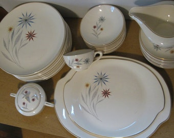 Vintage American Limoges Glamour Starflower china. Dinner Plates. Mid Century Modern China 1940-50s. 10 available.