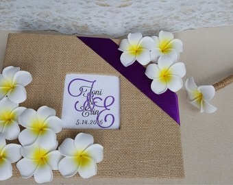 Plumeria Guest Book Set  (Wedding, Shower, Birthday, Anniversary, Etc) - Tropical Destination Beach Wedding  -  Hawaii Guestbook