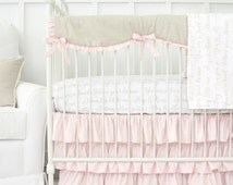 Love Letters & Blush Ruffle Designer Baby Bedding | 2 or 3 Pc Ruffled Crib Set | Taupe and White Love Letters Collection