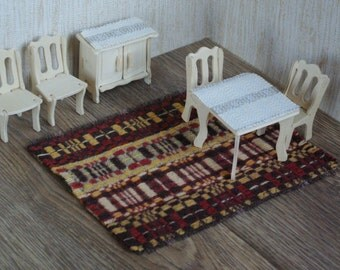 Doll house textile hand woven wool floor rug mat for dollhouse rust orange brown checked miniature carpet