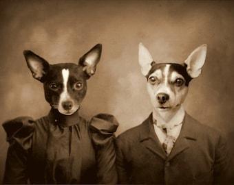 Custom Vintage Pet Portraits (two pets)