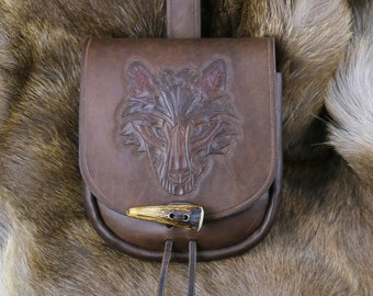 VIKING WOLF Leather Carved Belt Pouch Bag Fenrir Slavic Viking Vikings LARP Sca Fantasy Witcher Wolves Hand Carved Costume Acessory Pagan