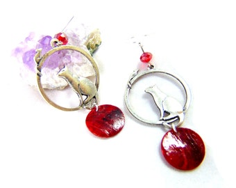 925 cat earrings and mouse on its true red pearl