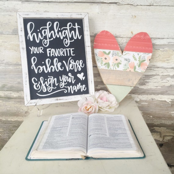 Wedding Guest Book Sign Highlight Your Favorite Bible Verse