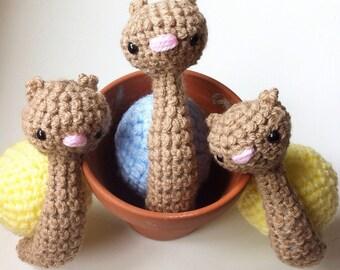 Super cute handmade amigurumi crochet snail with sherbert lemon sunshine shell - MADE TO ORDER