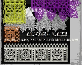 Alyona Borders ans Scallops Lace  - Elizabethan Style Freestanding Lace FSL Embroidery Designs Set
