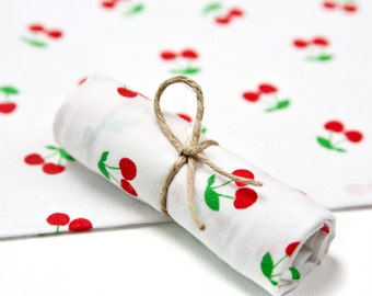 Cloth handkerchief with red cherries, 100% cotton
