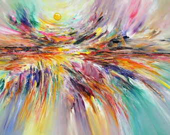 One Summerday L 1. Large abstract original, contemporary artwork. vibrant painting