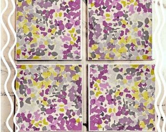 Abstract Purple & Yellow Floral Tile Coasters
