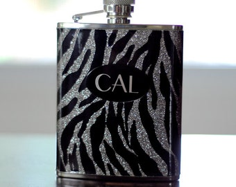 Personalized Zebra Flask