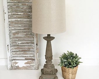 Pillar Table Lamp, French Provincial Lighting Rustic Lamp with Shade