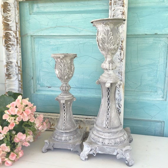 Tall candle holders sticks shabby chic