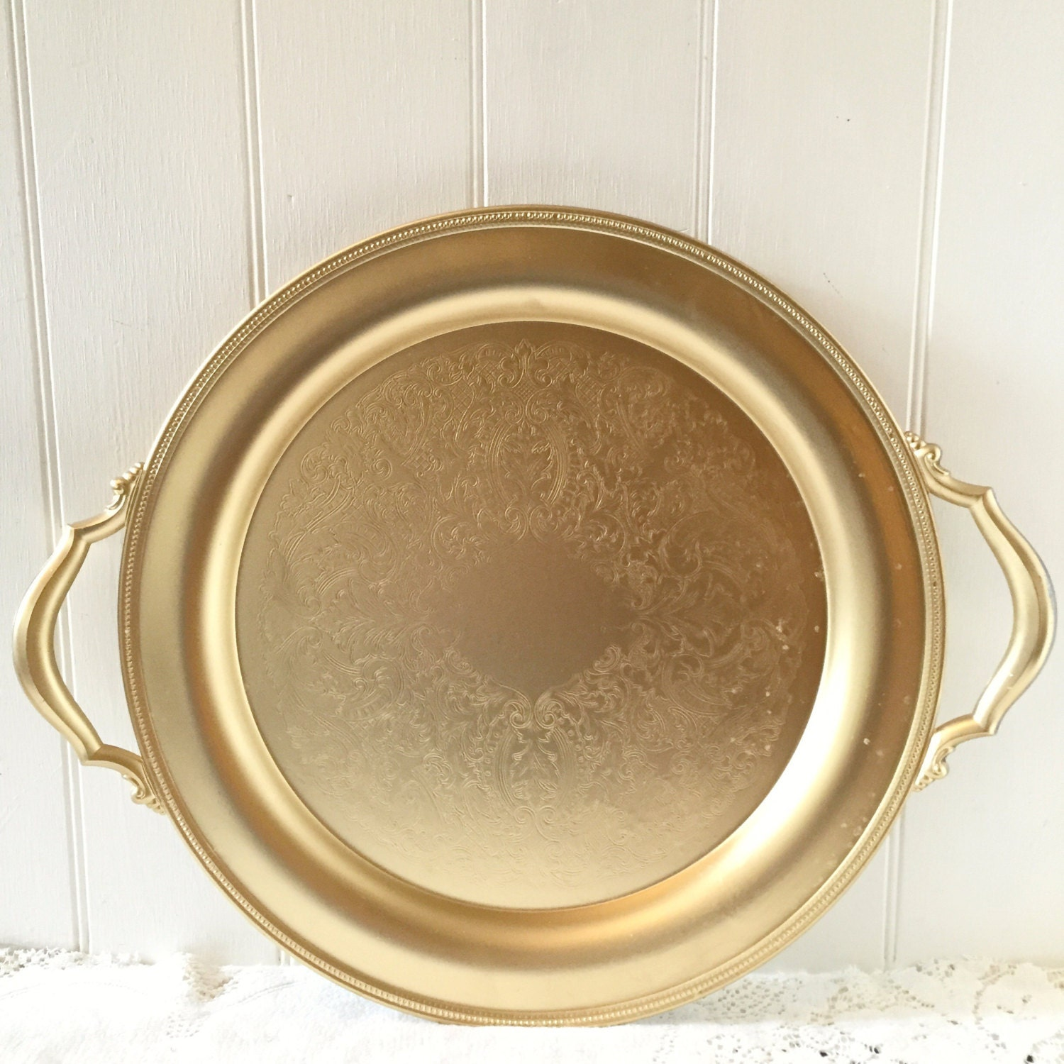 Gold serving tray wedding cake plate table centerpiece dessert