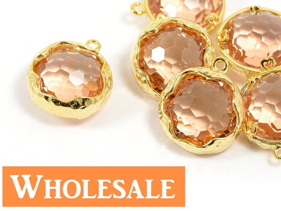 Round Peach Pendant WGOLESALE, Peach Color Glass Pendant with Hammered Frame in Anti-tarnish Gold Plating  - 10 pcs/ order
