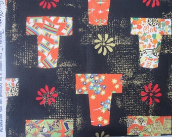 Quilt Fabric with Asian Kimonos by Sara Henry Design, Orange & Metallic on Black