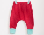 ON SALE: organic slouchy baby pants | cherry, cherry, mint