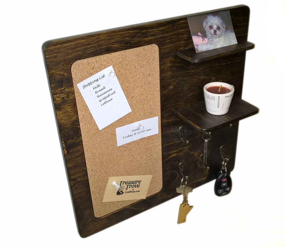 Cork board wall organizer with key hooks and small by for Cork board with hooks