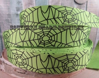 "3 yards of 7/8"" green spider web grosgrain ribbon"