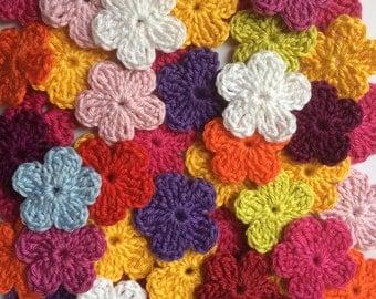 """Crochet flowers - Mix - Mercerized cotton - Random 12 colors -  Size approx. 3cm  (1.18"""")"""