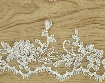 Alencon Lace Edging, Re-Embroidered Alencon Lace Scalloped Edge,Veil lace trimming