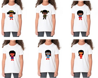 1 African American Girls Kids Superhero T-Shirt. Personalized. Toddler and Kids sizes