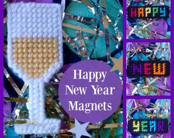 """SALE!!! Plastic Canvas: Happy New Year Magnets (set of 4 -- """"Happy New Year"""" words and champagne glass)"""